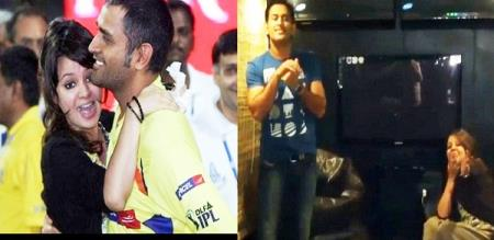 Dhoni dance before his wife Sakshi