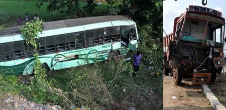 Chennai near Trouble 25-foot bus thrown into the ditch Larry