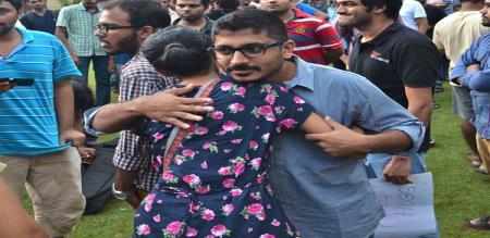 Chennai IIT student struggle and fight for hugging each other