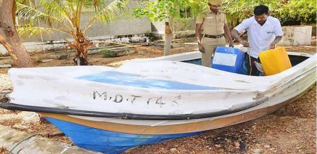 a strange fiber Cylon boat at Rameswaram