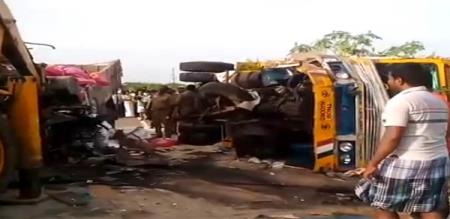 3 lorry collision accident in viralimalai
