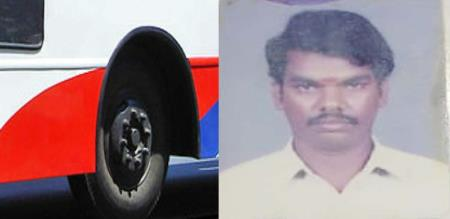 bus Tyre killed worker covai