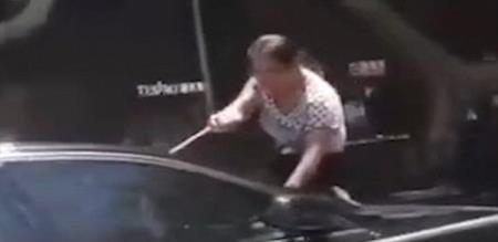 wife smashing husband audi after catching him with mistress