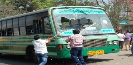 tn govt bus damaged in dmk party members