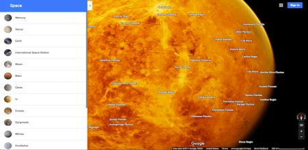 google maps now explore mars and the moon