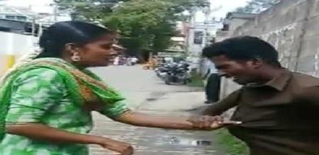 wife beat her husband on road