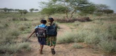 school students walk 10 km per day for go to school
