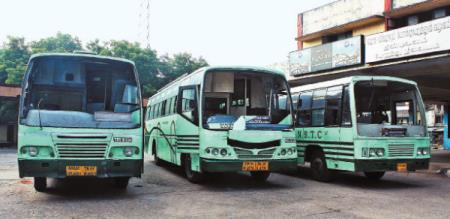tn govt buses damaged