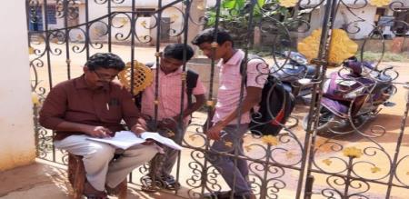 government school teacher takking claas in police custody