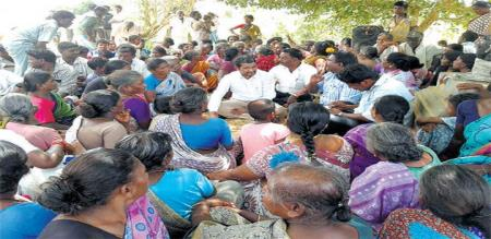 village people protest against quarry sand
