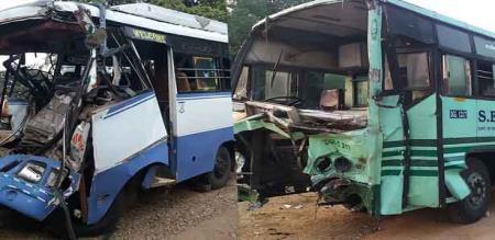 in vilupuram accident bus and van 4 peoples died and 24 peoples injured