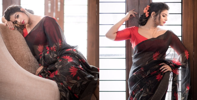 Vj mageshwari hottest photoshoot in saree