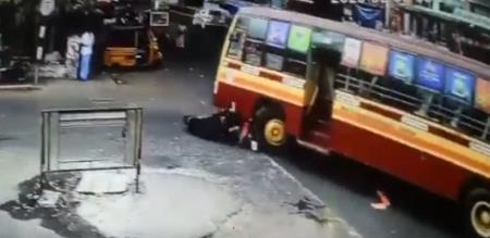 in Coimbatore bus two wheeler accident video