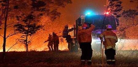 firefighters stuck in the flame of fire