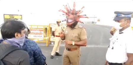 Chennai police awareness with corona helmet