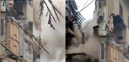 in delhi old building collapse suddenly viral video trending