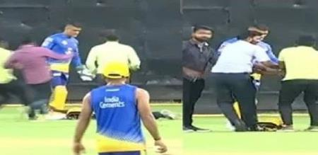 fan met dhoni during practice time
