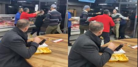 In England social media trending about man fight eating chips