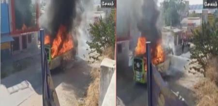 fire accident in private bus