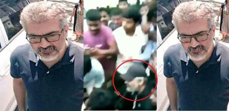 ajith taking photo with fans in road