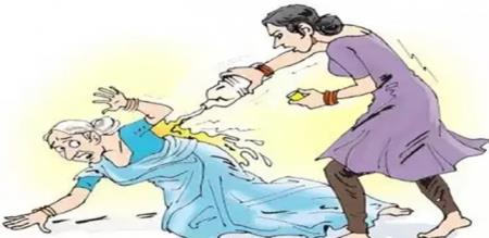 in coimbatore old lady arrest by police due to acid through
