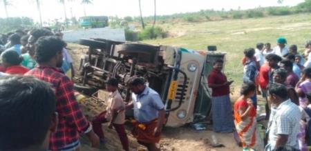 School van accident near Dindukal. 20 students hurt