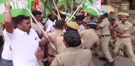 in Kanniyakumari youth congress members Batons by police
