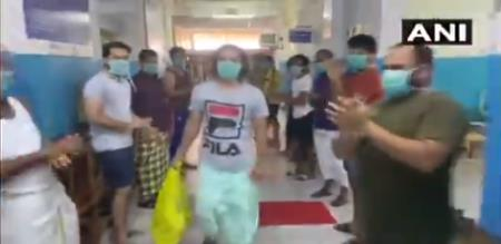 In kerala Kasaragod hospital members send off treatment complete patient