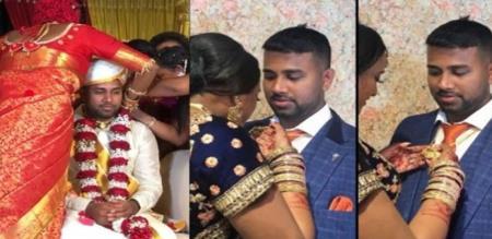 wedding girl tied mangalyam to wedding boy