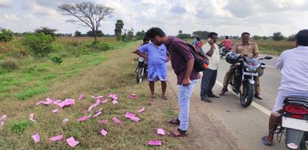 vote slip on road