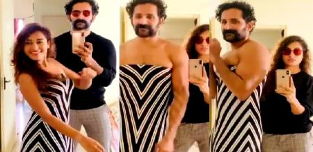 Pooja Ravichandran tik Tok video with her husband