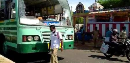 A Mentally challenged woman strike bus front glass peoples panic