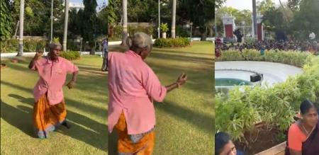rowdy baby song dance by old lady in puthuchery