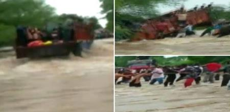 in rajasthan 12 students rescue safely by public in river