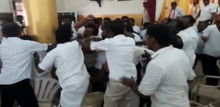 fighting at dmk congress meeting