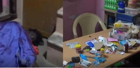 women death put injection in medical shop
