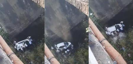 in Telangana car accident police slipped and died form 50 feet bridge
