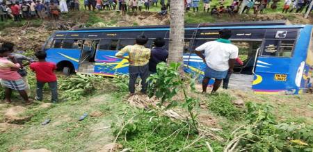 in thiruvarur private valli bus jumped in river