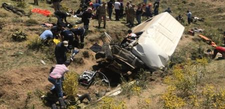 in turkey bus accident 17 peoples died and 20 peoples hardly injuries