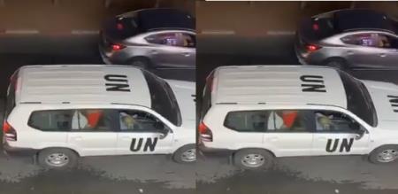 UN Officer enjoy in car video trend in social media