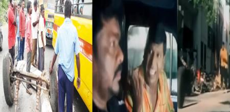 in puthuchery private bus tyre problem