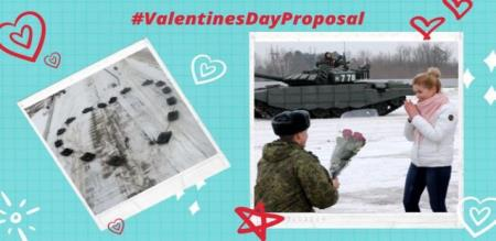 Russian soldier using 16 banger to propose love for his love girl